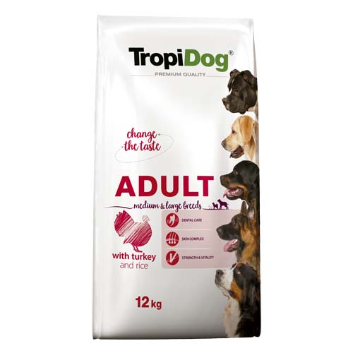 TropiDog Premium Adult Medium & Large 15kg morka s ryžou