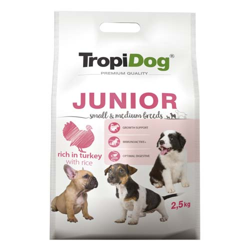 TropiDog Premium Junior Small & Medium 2,5kg morka s ryžou