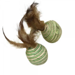 LES FILOUS Nature colored toy w/ feathers, 2pcs, 4.5cm