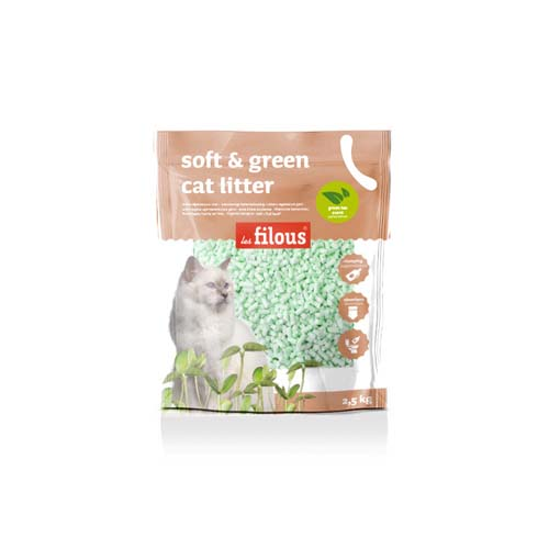 LES FILOUS Soft and green cat litter 2,5kg green tea perfume
